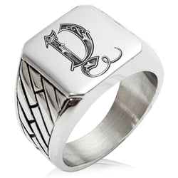 Stainless Steel Letter Y Alphabet Initial Royal Monogram Geometric Pattern Biker Style Polished Ring - Tioneer