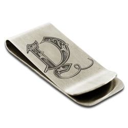 Stainless Steel Letter Y Alphabet Initial Royal Monogram Engraved Money Clip Credit Card Holder - Tioneer