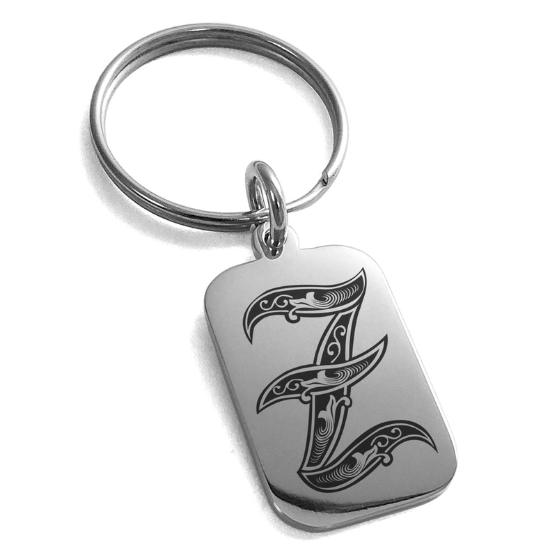 Stainless Steel Letter Z Initial Royal Monogram Engraved Small Rectangle Dog Tag Charm Keychain Keyring - Tioneer