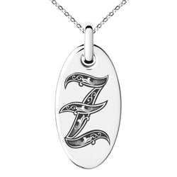 Stainless Steel Letter Z Initial Royal Monogram Engraved Small Oval Charm Pendant Necklace - Tioneer