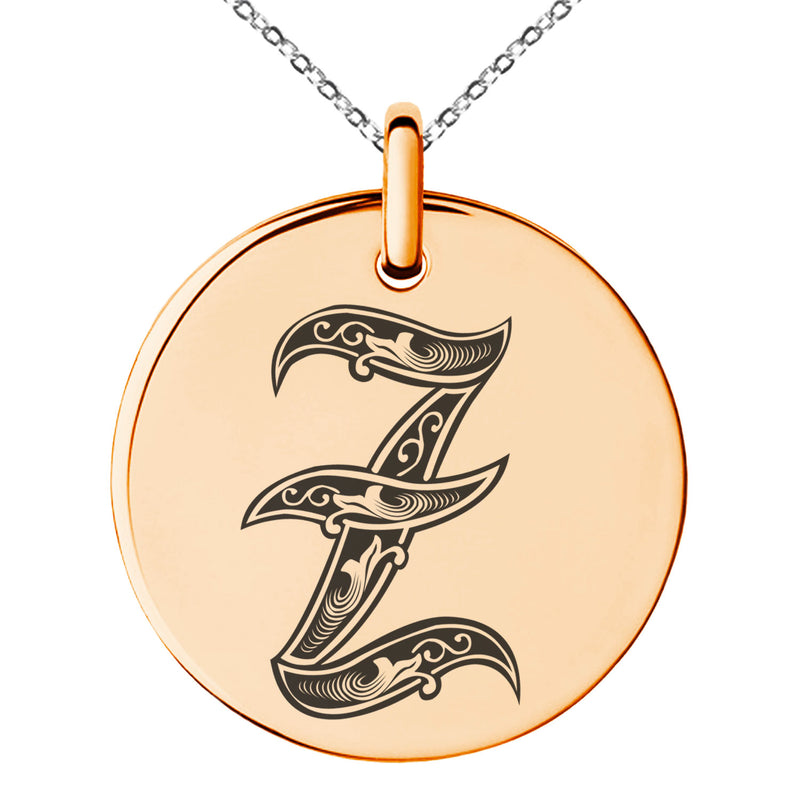 Stainless Steel Letter Z Initial Royal Monogram Engraved Small Medallion Circle Charm Pendant Necklace - Tioneer