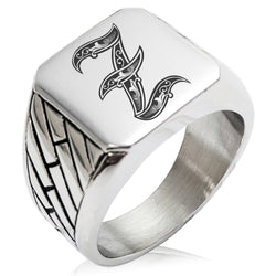 Stainless Steel Letter Z Alphabet Initial Royal Monogram Geometric Pattern Biker Style Polished Ring - Tioneer