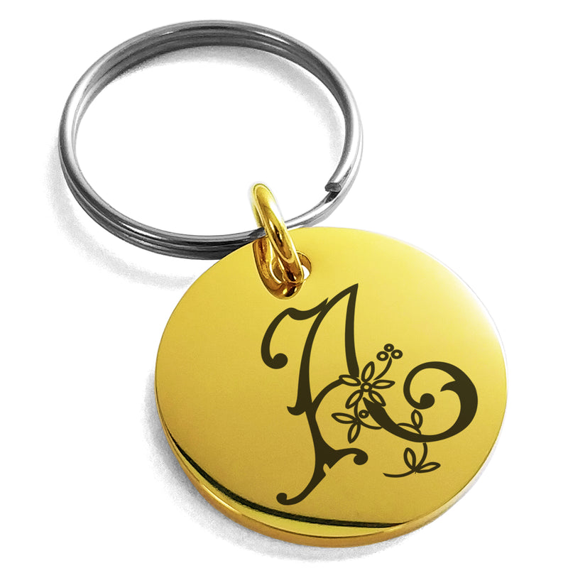 Stainless Steel Letter A Initial Floral Monogram Engraved Small Medallion Circle Charm Keychain Keyring - Tioneer