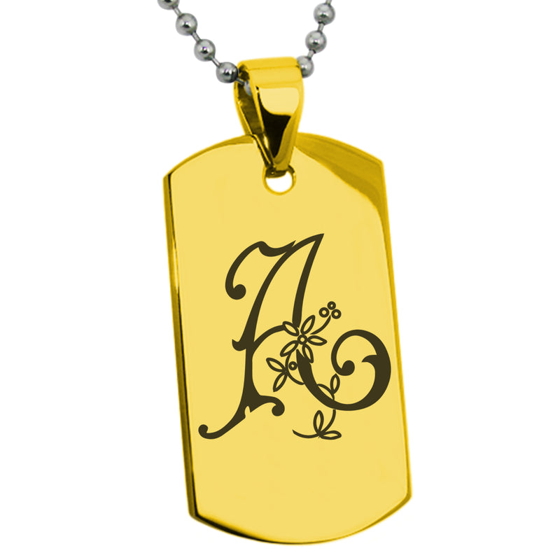 Stainless Steel Letter A Alphabet Initial Floral Monogram Engraved Dog Tag Pendant Necklace - Tioneer