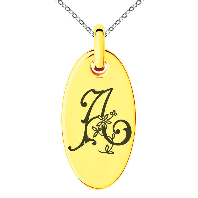 Stainless Steel Letter A Initial Floral Monogram Engraved Small Oval Charm Pendant Necklace