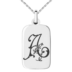 Stainless Steel Letter A Initial Floral Monogram Engraved Small Rectangle Dog Tag Charm Pendant Necklace
