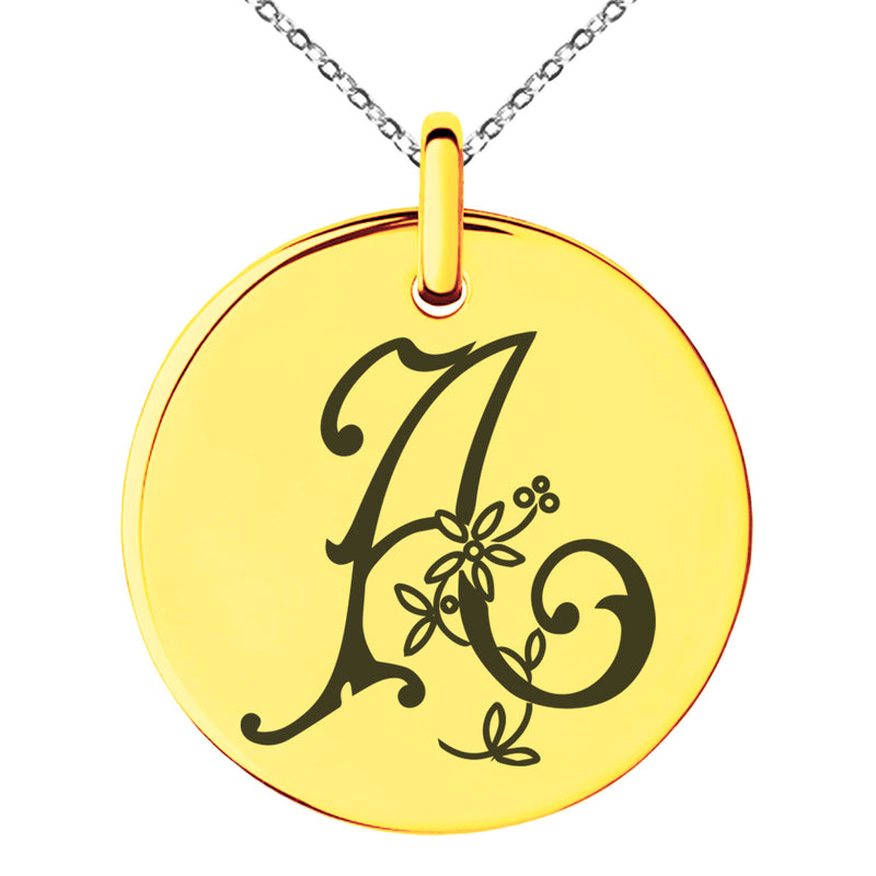 Stainless Steel Letter A Initial Floral Monogram Engraved Small Medallion Circle Charm Pendant Necklace