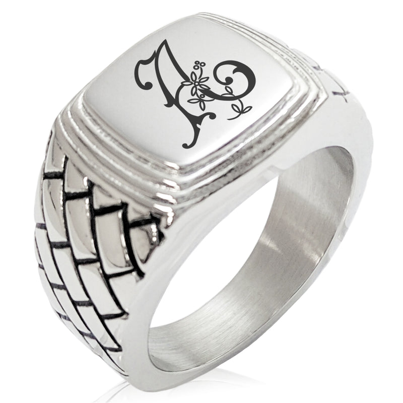 Stainless Steel Letter A Alphabet Initial Floral Monogram Geometric Pattern Step-Down Biker Style Polished Ring - Tioneer