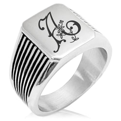 Stainless Steel Letter A Alphabet Initial Floral Monogram Needle Stripe Pattern Biker Style Polished Ring - Tioneer