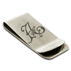 Stainless Steel Letter A Alphabet Initial Floral Monogram Engraved Money Clip Credit Card Holder - Tioneer