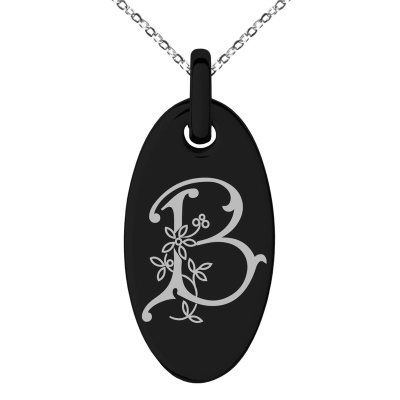 Stainless Steel Letter B Initial Floral Monogram Engraved Small Oval Charm Pendant Necklace