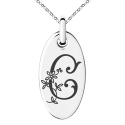 Stainless Steel Letter C Initial Floral Monogram Engraved Small Oval Charm Pendant Necklace