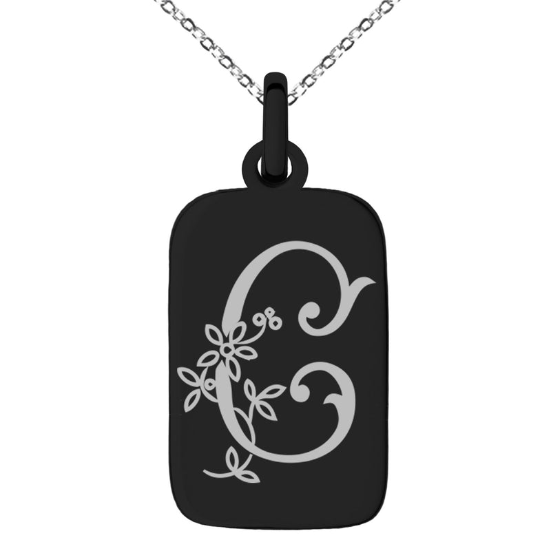 Stainless Steel Letter C Initial Floral Monogram Engraved Small Rectangle Dog Tag Charm Pendant Necklace