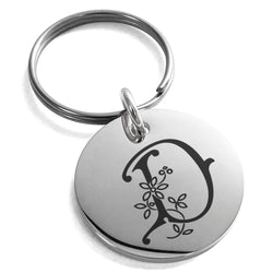 Stainless Steel Letter D Initial Floral Monogram Engraved Small Medallion Circle Charm Keychain Keyring - Tioneer