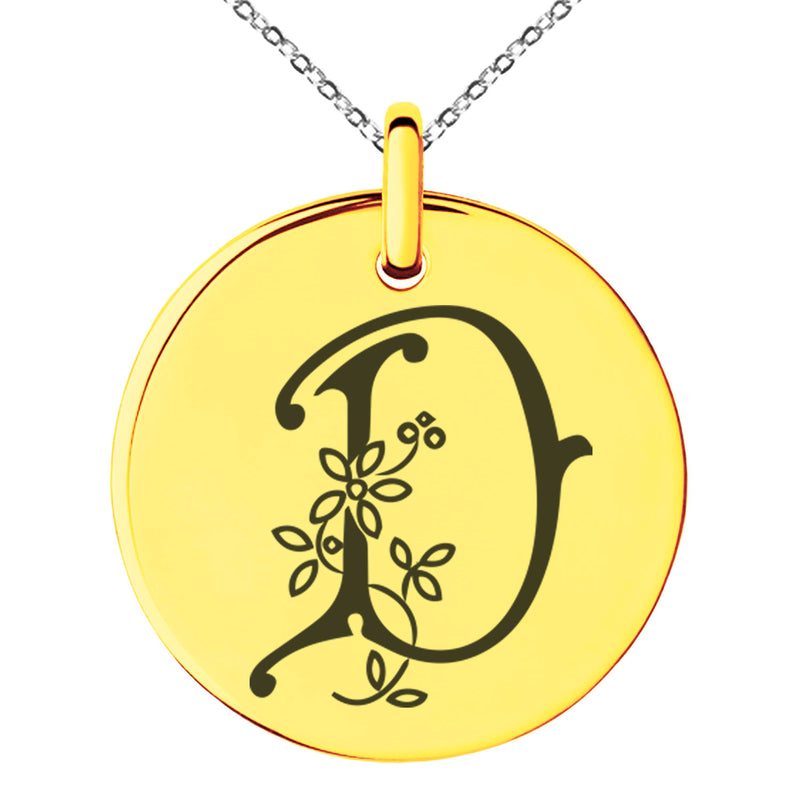 Stainless Steel Letter D Initial Floral Monogram Engraved Small Medallion Circle Charm Pendant Necklace