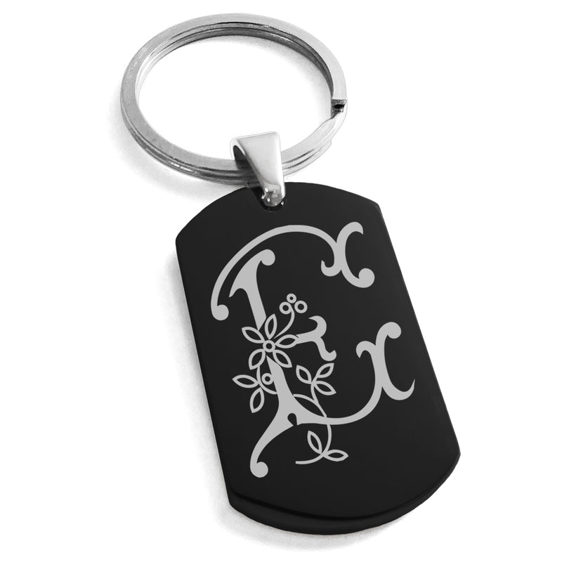 Stainless Steel Letter E Alphabet Initial Floral Monogram Engraved Dog Tag Keychain Keyring - Tioneer