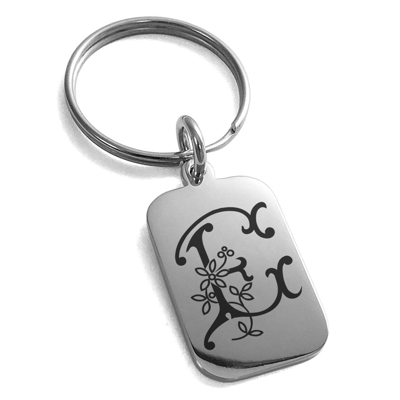 Stainless Steel Letter E Initial Floral Monogram Engraved Small Rectangle Dog Tag Charm Keychain Keyring - Tioneer