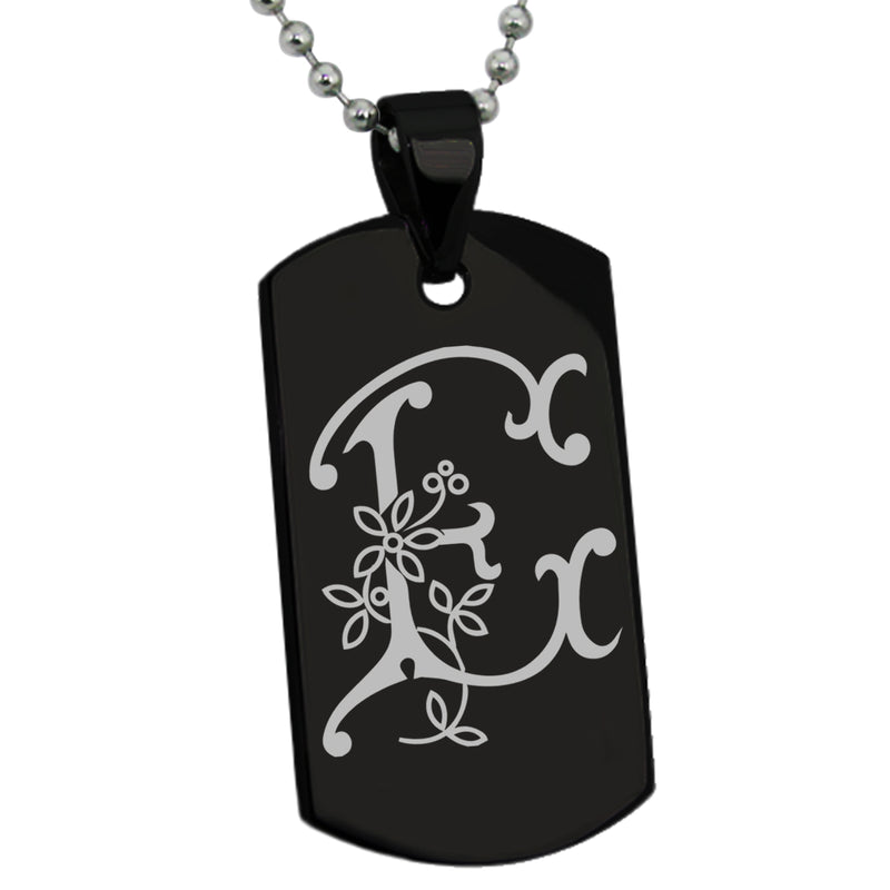 Stainless Steel Letter E Alphabet Initial Floral Monogram Engraved Dog Tag Pendant Necklace - Tioneer
