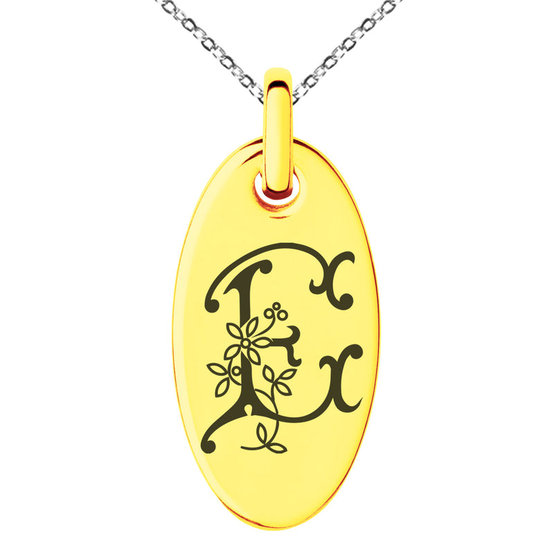 Stainless Steel Letter E Initial Floral Monogram Engraved Small Oval Charm Pendant Necklace