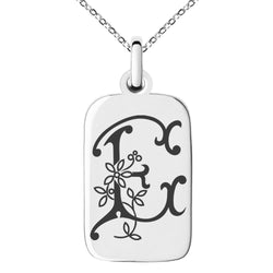 Stainless Steel Letter E Initial Floral Monogram Engraved Small Rectangle Dog Tag Charm Pendant Necklace