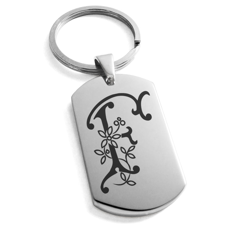 Stainless Steel Letter F Alphabet Initial Floral Monogram Engraved Dog Tag Keychain Keyring - Tioneer