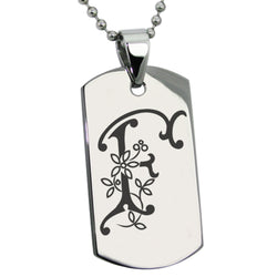 Stainless Steel Letter F Alphabet Initial Floral Monogram Engraved Dog Tag Pendant Necklace - Tioneer