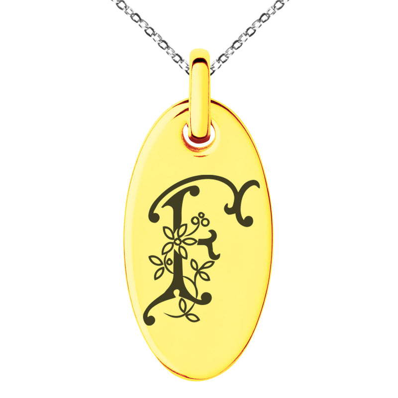 Stainless Steel Letter F Initial Floral Monogram Engraved Small Oval Charm Pendant Necklace