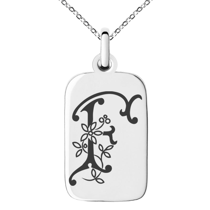 Stainless Steel Letter F Initial Floral Monogram Engraved Small Rectangle Dog Tag Charm Pendant Necklace