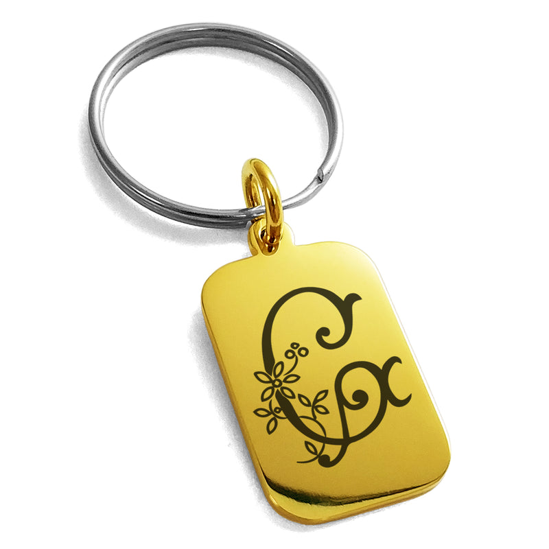 Stainless Steel Letter G Initial Floral Monogram Engraved Small Rectangle Dog Tag Charm Keychain Keyring - Tioneer