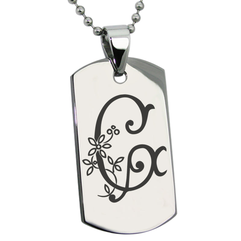 Stainless Steel Letter G Alphabet Initial Floral Monogram Engraved Dog Tag Pendant Necklace - Tioneer