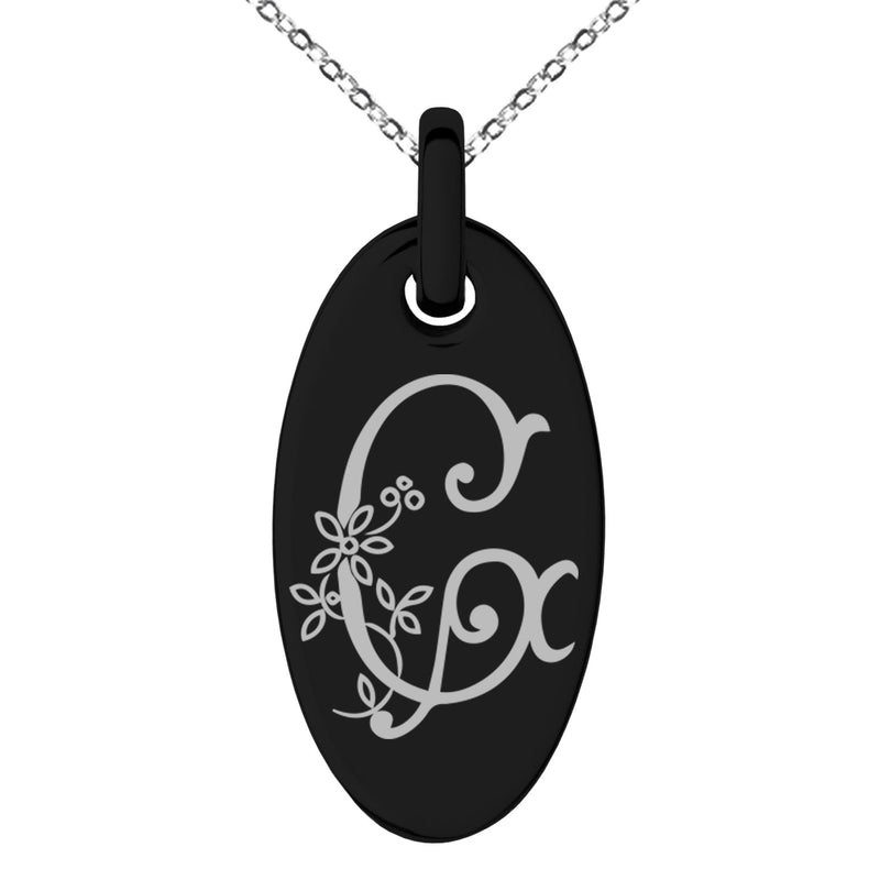 Stainless Steel Letter G Initial Floral Monogram Engraved Small Oval Charm Pendant Necklace