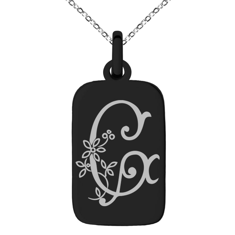 Stainless Steel Letter G Initial Floral Monogram Engraved Small Rectangle Dog Tag Charm Pendant Necklace