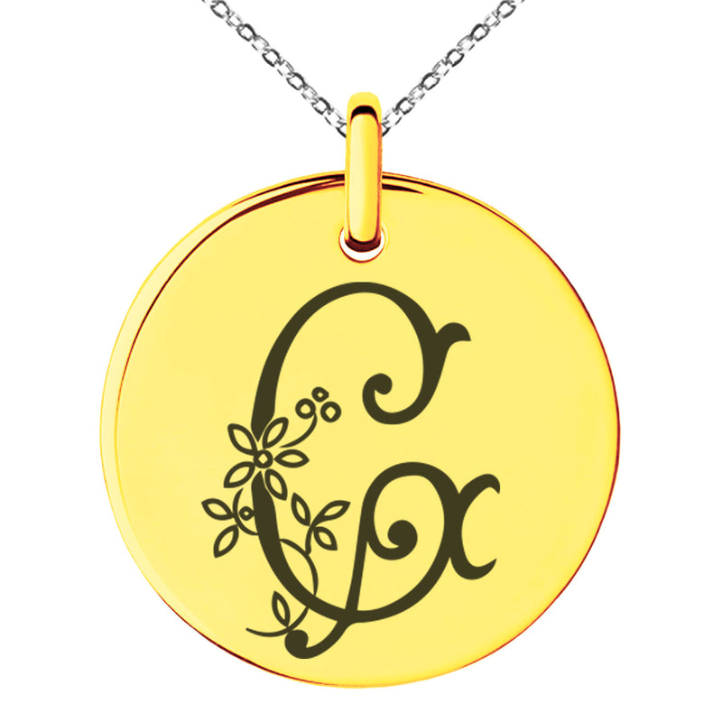 Stainless Steel Letter G Initial Floral Monogram Engraved Small Medallion Circle Charm Pendant Necklace