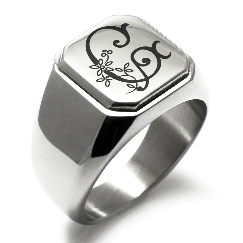Stainless Steel Letter G Alphabet Initial Floral Monogram Engraved Square Flat Top Biker Style Polished Ring - Tioneer