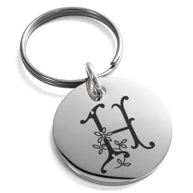 Stainless Steel Letter H Initial Floral Monogram Engraved Small Medallion Circle Charm Keychain Keyring - Tioneer