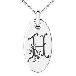 Stainless Steel Letter H Initial Floral Monogram Engraved Small Oval Charm Pendant Necklace