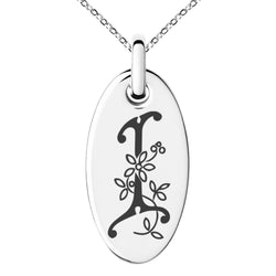 Stainless Steel Letter I Initial Floral Monogram Engraved Small Oval Charm Pendant Necklace