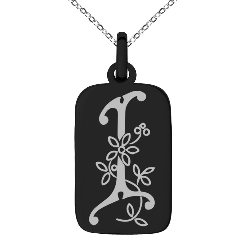 Stainless Steel Letter I Initial Floral Monogram Engraved Small Rectangle Dog Tag Charm Pendant Necklace