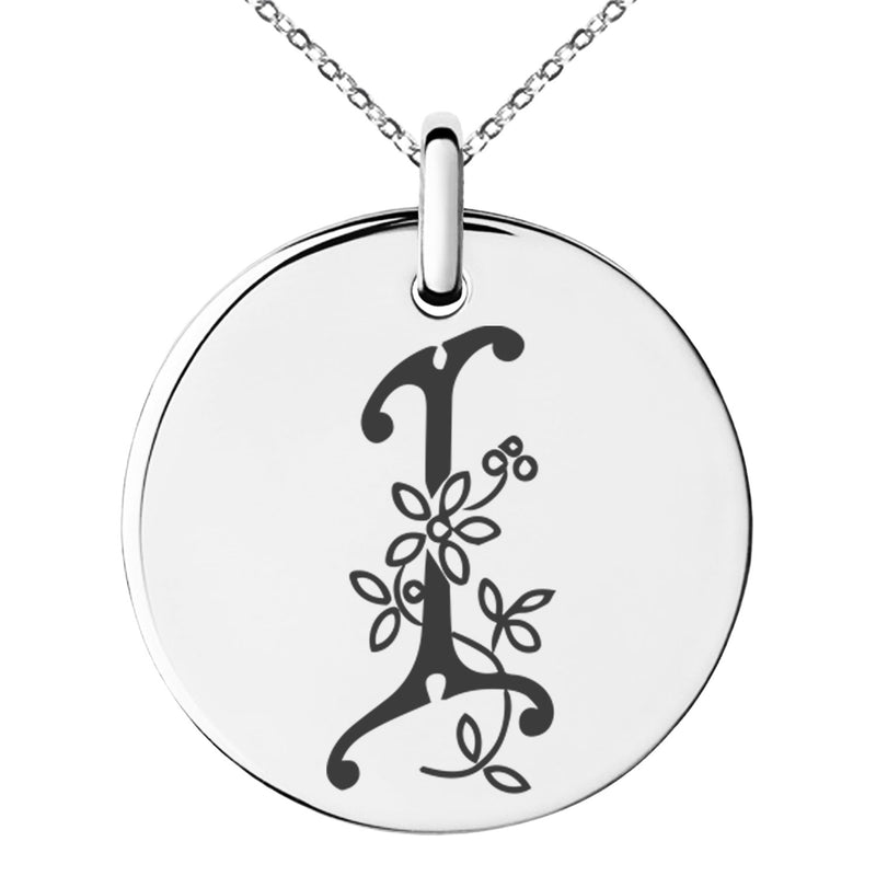 Stainless Steel Letter I Initial Floral Monogram Engraved Small Medallion Circle Charm Pendant Necklace