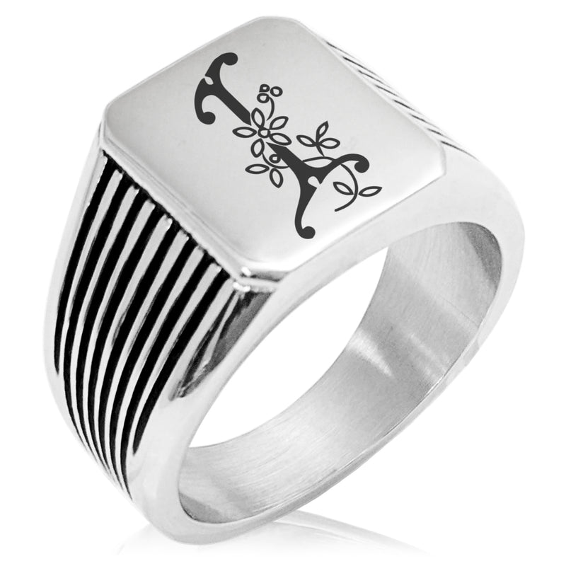 Stainless Steel Letter I Alphabet Initial Floral Monogram Needle Stripe Pattern Biker Style Polished Ring - Tioneer