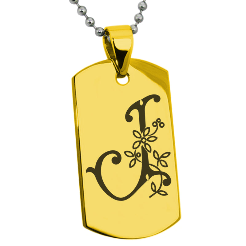 Stainless Steel Letter J Alphabet Initial Floral Monogram Engraved Dog Tag Pendant Necklace - Tioneer