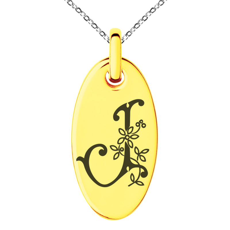 Stainless Steel Letter J Initial Floral Monogram Engraved Small Oval Charm Pendant Necklace