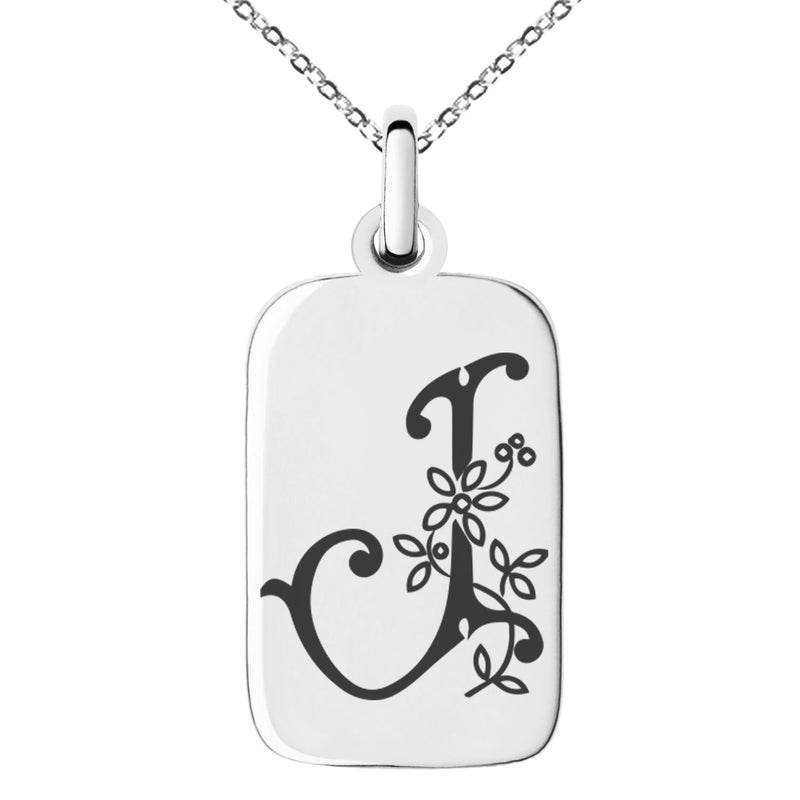 Stainless Steel Letter J Initial Floral Monogram Engraved Small Rectangle Dog Tag Charm Pendant Necklace