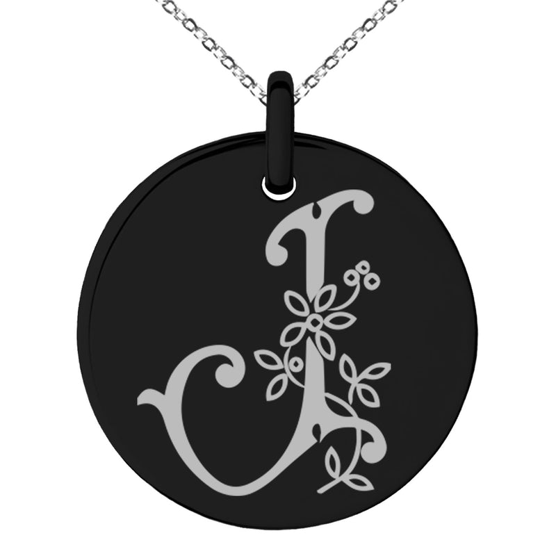 Stainless Steel Letter J Initial Floral Monogram Engraved Small Medallion Circle Charm Pendant Necklace