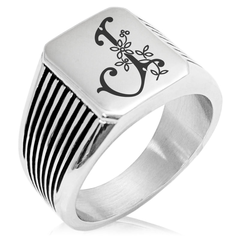 Stainless Steel Letter J Alphabet Initial Floral Monogram Needle Stripe Pattern Biker Style Polished Ring - Tioneer