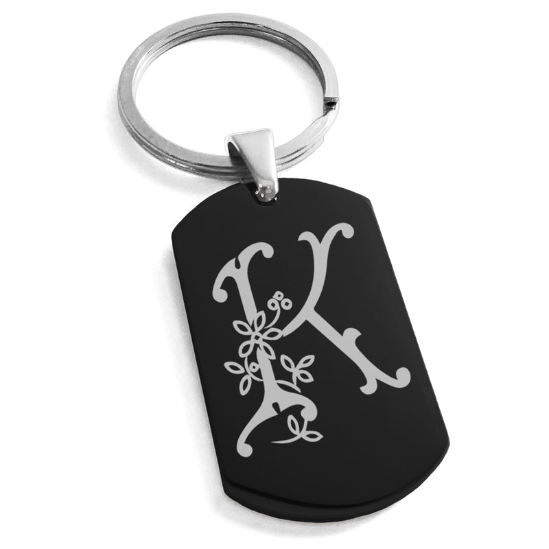 Stainless Steel Letter K Alphabet Initial Floral Monogram Engraved Dog Tag Keychain Keyring - Tioneer