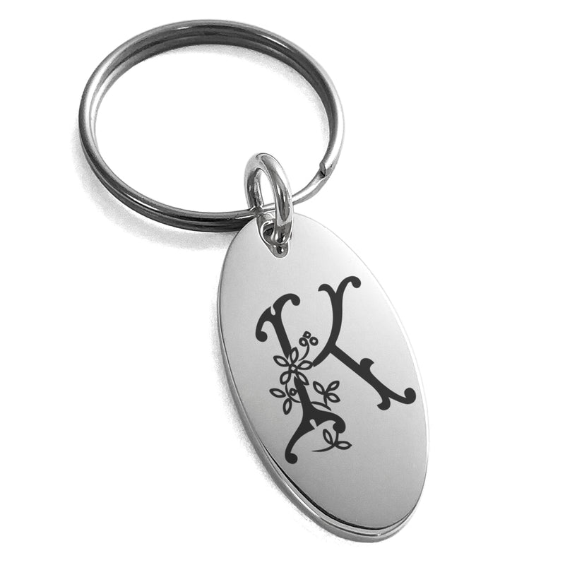 Stainless Steel Letter K Initial Floral Monogram Engraved Small Oval Charm Keychain Keyring - Tioneer