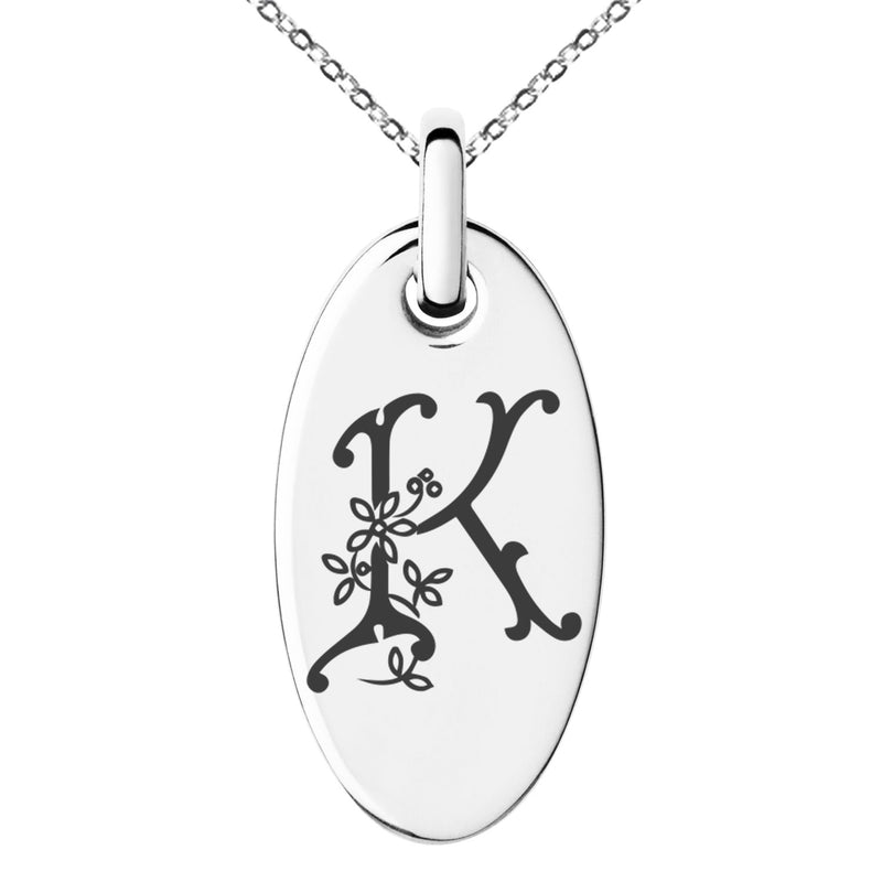Stainless Steel Letter K Initial Floral Monogram Engraved Small Oval Charm Pendant Necklace