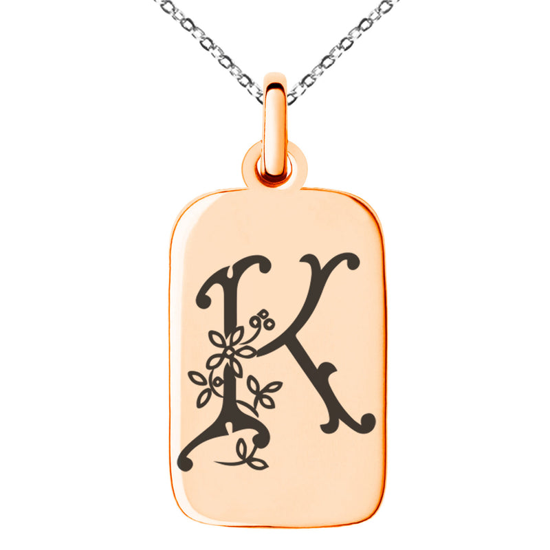 Stainless Steel Letter K Initial Floral Monogram Engraved Small Rectangle Dog Tag Charm Pendant Necklace