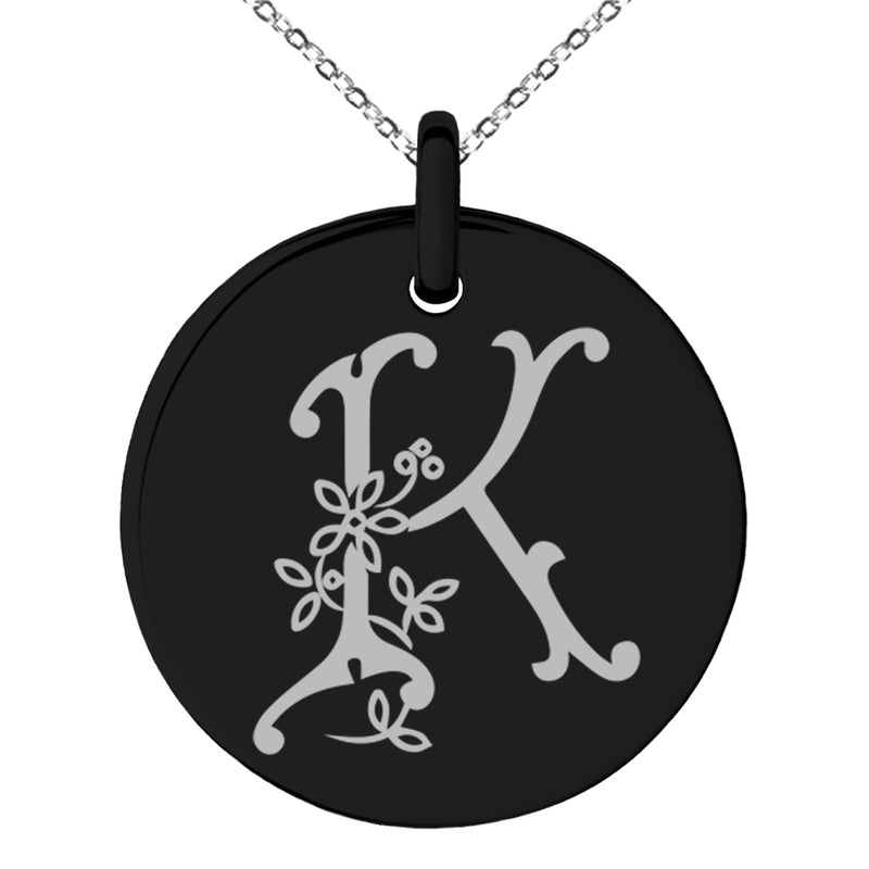 Stainless Steel Letter K Initial Floral Monogram Engraved Small Medallion Circle Charm Pendant Necklace